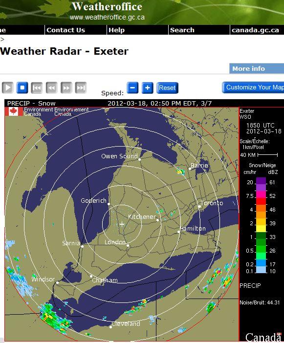 Radar showing snow