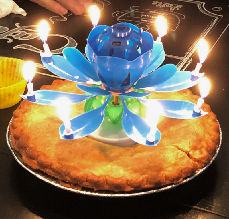76th birthday pie and Candle